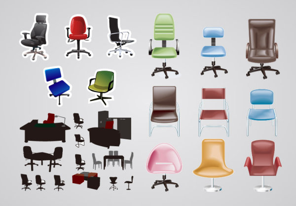 Office Furniture Vector Material