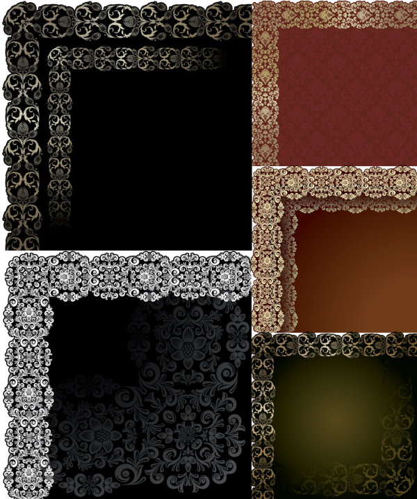 : European pattern lace border shading wove patterns Gyrosigma Vector