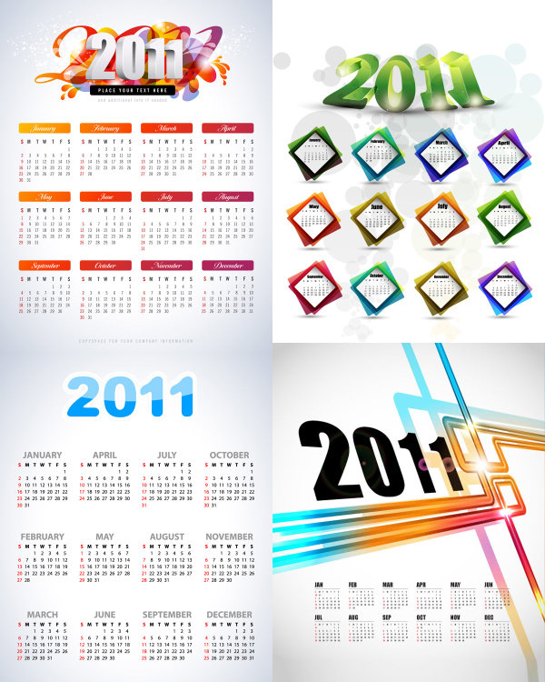 Download Vectors. Beautiful 2011 calendar template - Vector