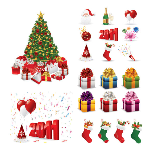 Vector Christmas 2011 Design Elements | Download Free Vectors ...