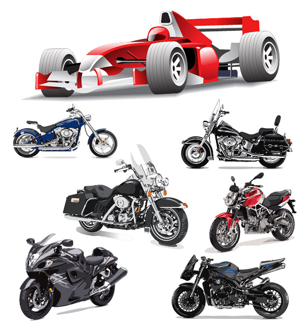 F1 Formula One and motorcycle Vector