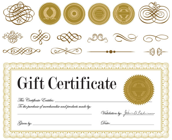 Gift certificate and a badge Vector Download Free Vectors qAm5rfST