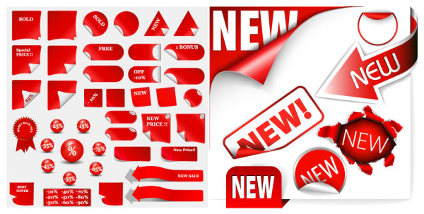 File Style: EPS format Keyword: stickers eared medal badge round new New Arrival arrow holes in the paper icon vector material
